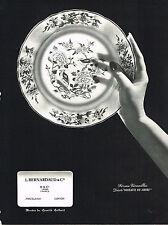 PUBLICITE ADVERTISING  1964   BERNARDEAU PORCELAINES    décor OISEAUX DE CHINE