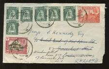 ADEN 1946 MUKALLA...8 STAMP FRANKING to KENNEDY in LONDON
