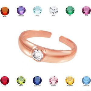 Rose Gold Birthstone CZ Toe Ring