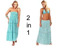 BEACHWEAR LADIES 2 IN 1 COTTON BANDEAU SUMMER DRESS SKIRT FLORAL PRINT COVER UP