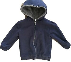 Janie and Jack Boys 2T Sherpa Hoodie Sweatshirt Zip Up Navy Blue Gray