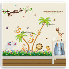 Animal Wall Sticker Monkey Jungle Zoo Safari Nursery Baby Kids Bedroom Decals