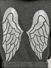 M Victoria's Secret Angel Bling Sequin WING Full Zip Hoodie Dark Gray NWT Winged