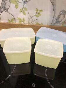 4 X Tupperwear Vintage Storage Boxes Sandwich Picnic Boxes Yellow Blue