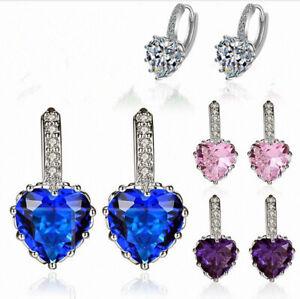 Heart Charm Stone Stud Earrings 925 Sterling Silver Womens Girls Jewellery Gift
