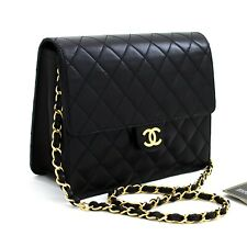 y11 CHANEL Authentic Small Chain Shoulder Bag Clutch Black Quilted Flap Lambskin