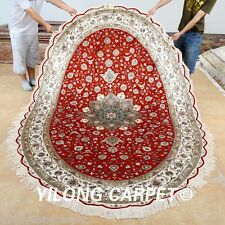 Yilong 6'x9' Oval Classic Silk Area Rugs Red Hand Knotted Carpets Hand Made 0968