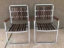 Pair Vintage Folding Aluminum Body Wooden Slat Patio Lawn Chairs