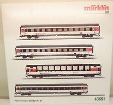 Märklin H0 43651 SBB-Schnellzugwagen-Set mit 4 Wagen, Epo VI, Innenbel.   M70