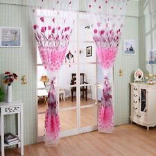 2Pcs Cortinas jacquard de tul Gasa salón dormitorio Puerta de habitación Cenefas