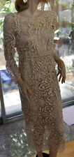 LIM'S VINTAGE 100%  ALL HAND MADE CROCHET MIDI DRESS Natural  ONE SIZE FITS MOST