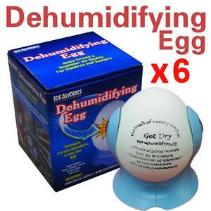 6 x Dehumidifying Egg Dehumidifier Moisture Damp Absorber Air Dryer Purifier