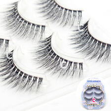 3D False Eyelashes Eye Lashes Makeup Extension Tool Natural Clear Band 3Pair/Set