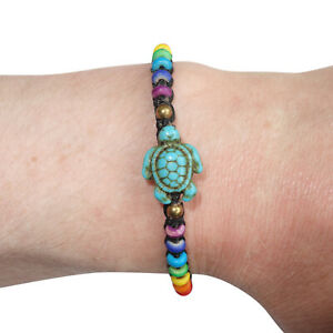 Turtle Bracelet Rainbow Wristband Bangle Mens Womens Ladies Boys Girls Jewelry