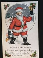 Santa Claus in Snow with Bell~Holly~ Antique Embossed~Christmas Postcard--s432