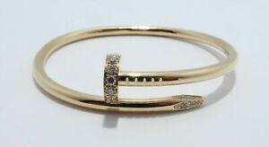 NEW 18k Yellow Gold Diamond Juste un Clou Nail Bracelet CARTIER inspired Size 16