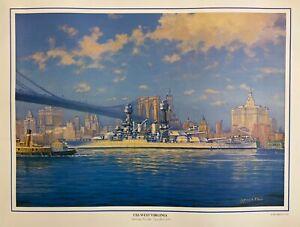 "USS West Virginia ""Departing Brooklyn Navy Yard 1932""  Print by James A. Flood"