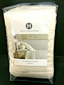 (1) Hotel Collection Plume White STANDARD Quilted Sham $120.00 MSRP