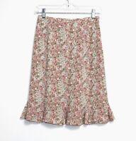 Talbots - 2P (PXS) - Multi-Color Floral Print 100% Silk Tulip Skirt