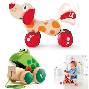 Hape Walk-A-Long Puppy Wooden Push Pull Toy  With Pull Puppy Frog For Toddlers