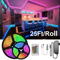 50FT Flexible 5050 LED Strip Lights 7.5M/Roll Room Bar TV Lights with Remote DC