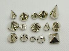 100 Assorted Silver Metallic Acrylic Rock Punk Spike Taper Stud Beads
