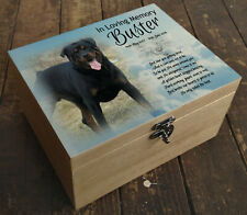 Personalised Rottweiler dog wooden urn casket, In loving memory gift