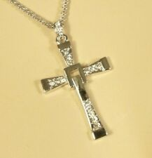 "White Gold Cross Clear Crystal Necklace Chain 25 1/4"" 2 "" ext Silver Tone 18kgp"
