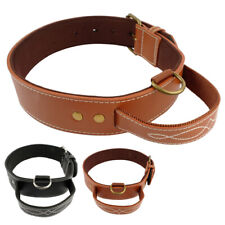 Real Leather Heavy Duty Padded Dog Collar with Handle Quick Control for Training