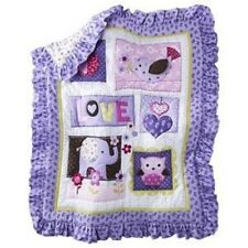 CIRCO LOVE AND N LILACS PURPLE BABY GIRL BLANKET COMFORTER QUILT BIRD OWL APPLE