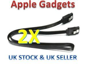 [2 pack] 50cm SATA 3 Locking Plug 6Gb High Speed Cable Straight Lead - UK SELLER
