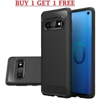 (2 FOR 1) Samsung Galaxy S10 Carbon Fibre Best TPU GEL Silicone Gel Case Cover