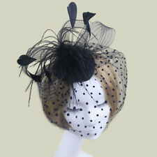 Fashion Ladies' Bird Cage Hair Clip Feather Fascinator Hat Face Veil Black