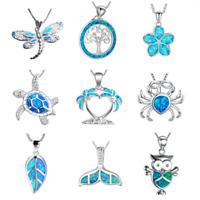 Sea Theme Sea Turtle Pendent 925 Silver Blue Fire Opal Necklace Fashion Jewelry