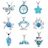 925 Silver Filled Blue Opal Sea Turtle Pendant Women Necklace Jewelry Beach Gift