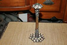 Antique Arts & Crafts Movement Candlestick Holder Copper Glass Jewels