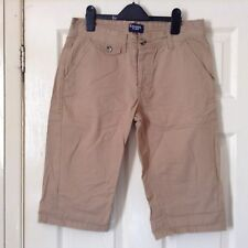 "Kangol Men's Chino Shorts Tan brown button fly 32"" waist 100% Cotton size Small"