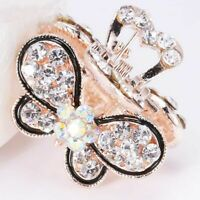 Women Crystal Rhinestone Hair Clip Claw Mini Butterfly Hairpins Barrette