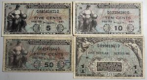 Military Payment Certificates Series 481 5C, 10C, 50C and $1