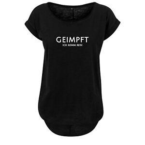 Ladies fashion Oversize Shirt Damen Tanktop Geimpft ... - Schwarz & Weiß - NEU