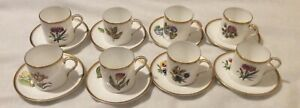 Royal Worcester English Flowers Espresso Coffee Cups and Saucers x8