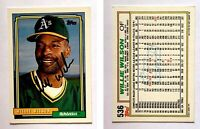 Willie Wilson Signed 1992 O-Pee-Chee #536 Card Oakland Athletics Auto Autograph