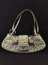 GORGEOUS GUESS Purse Handbag Snake Skin Green Shoulder Bag  RARE