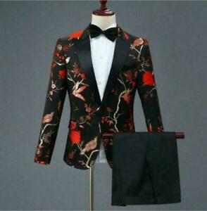 Mens Embroidery Slim Fit Blazers Host Costume Floral Jacket Long Pants 2pc Suits