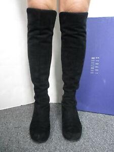 STUART WEITZMAN black 50/50 suede/ gabardine over-the-knee boots sz 7.5 #OW41765