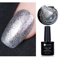 Glitzer Silber Platinum Soak Off UV Gel Polish Nail Art Maniküre Nagellack Tips