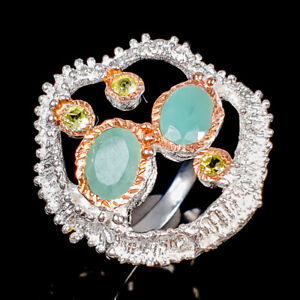 Handmade jewelry Emerald Ring Silver 925 Sterling  Size 7 /R175162