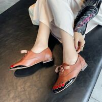 Fashion Women's Lace up Flat Leather Retro Leather Shoes Oxfords Pumps Size