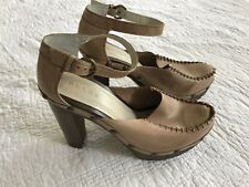 Anthropologie Dulce Size 9 Leather Clogs Platform 5 Inch Heel
