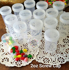 20 HOBBY JARS Clear Plastic Container Clear Caps Lids 2oz 60ml 4314 DecoJars NEW